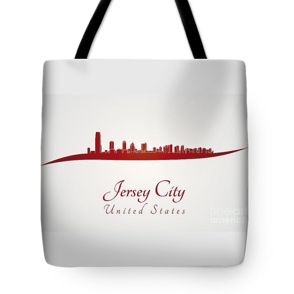 Jersey City Skyline Tote Bag featuring the digital art Jersey City Skyline In Red by Pablo Romero