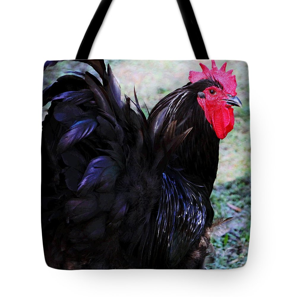 Rooster Tote Bag featuring the photograph Jersey Giant by Myrna Bradshaw