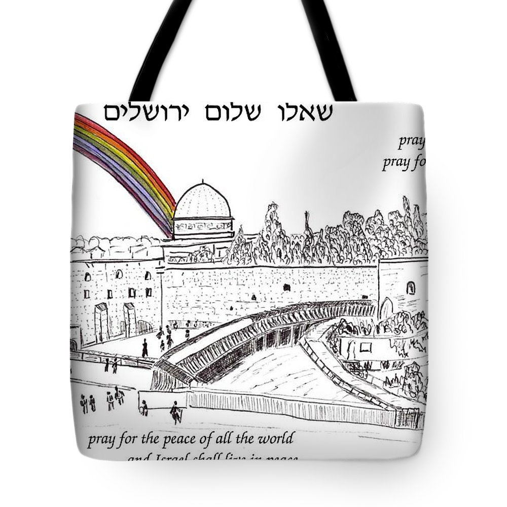 Jerusalem Tote Bag featuring the painting Jerusalem With Rainbow by Linda Feinberg