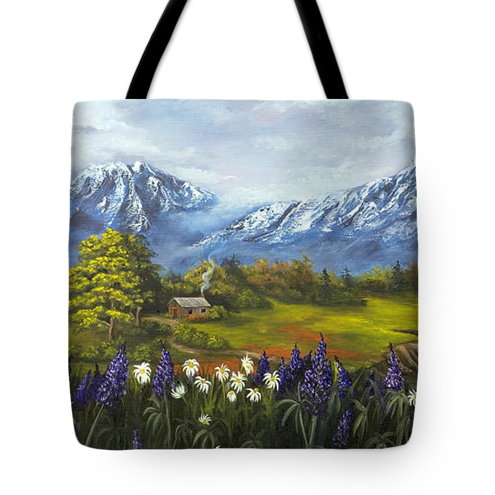 Landscape Tote Bag featuring the painting Jessy's View by Darice Machel McGuire