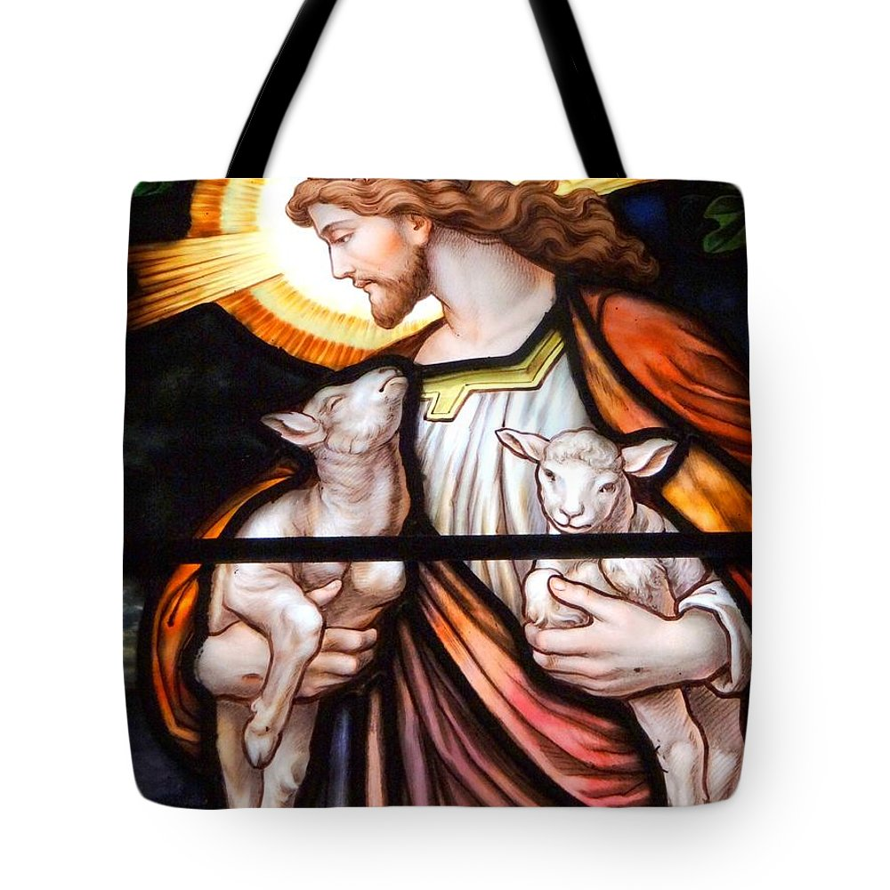 Jesus Tote Bag featuring the photograph Jesus And Lambs by Ed Weidman