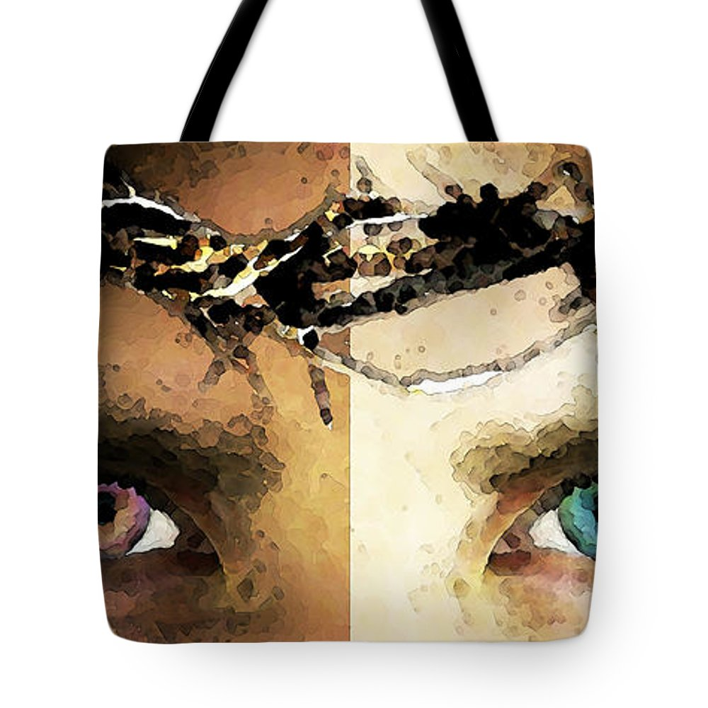 Christian Tote Bag featuring the painting Jesus Christ - How Do You See Me by Sharon Cummings