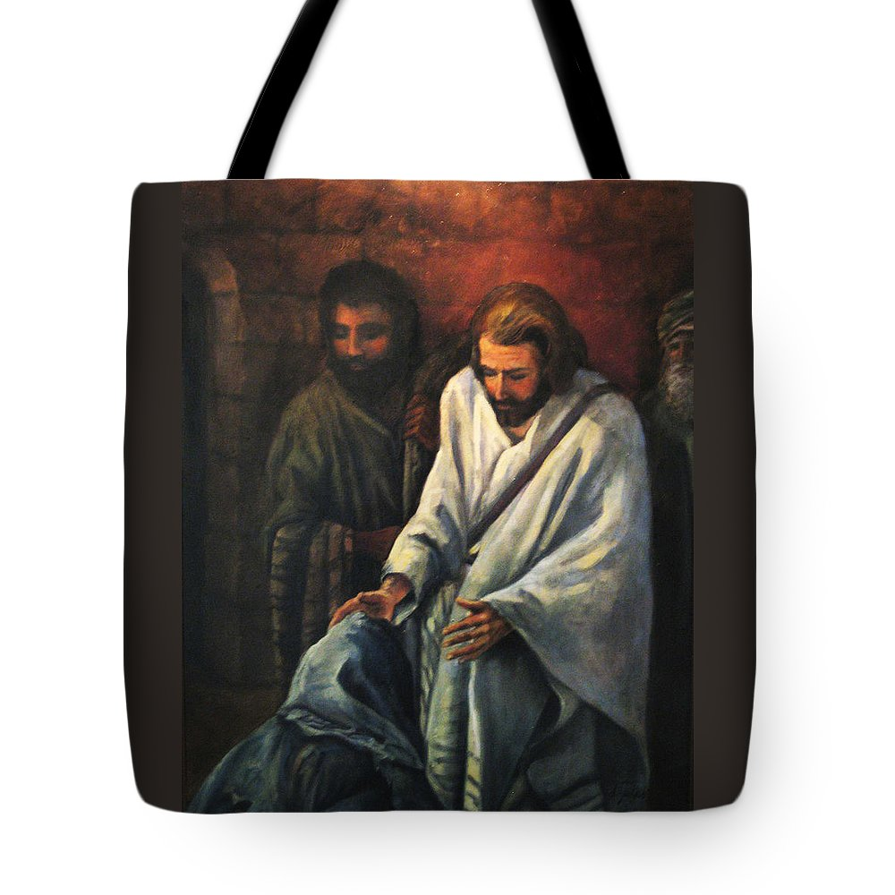 Religious Tote Bag featuring the painting Jesus Healing Beggar by Donna Tucker