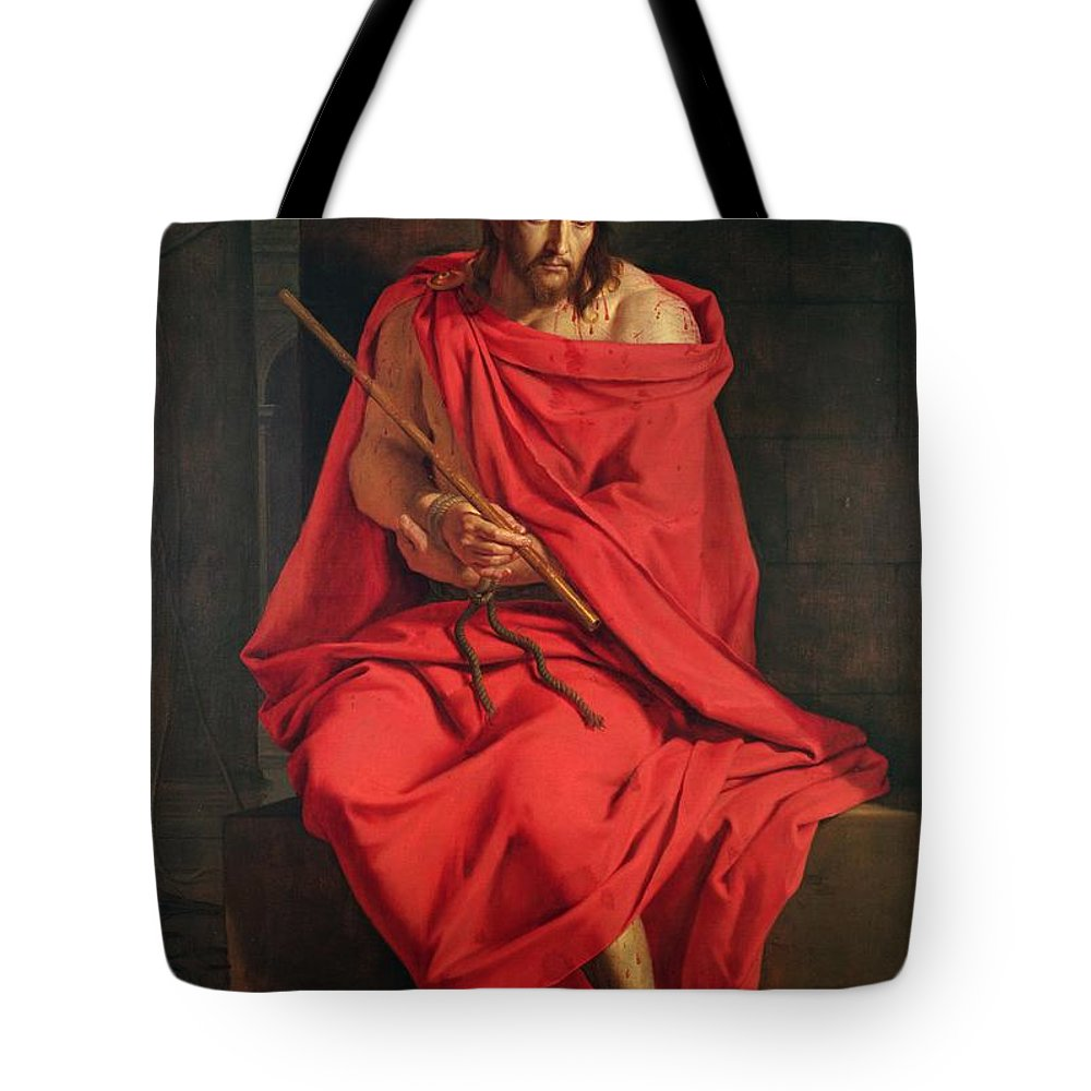 Male Tote Bag featuring the photograph Jesus Mocked Oil On Canvas by Philippe de Champaigne