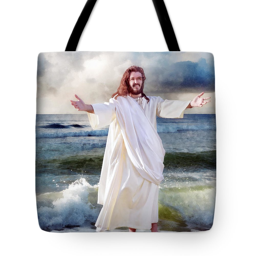 Storm Tote Bag featuring the digital art Jesus On The Sea by Francesa Miller