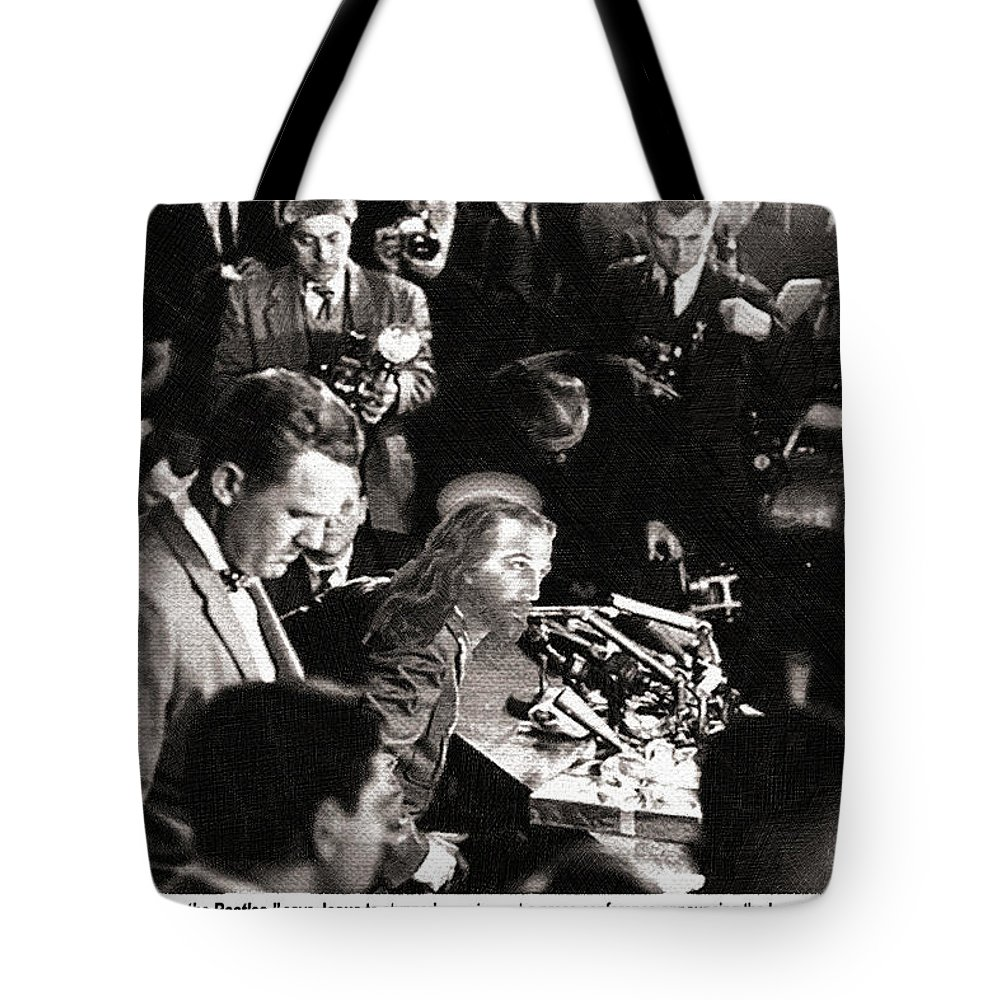 John Lennon Tote Bag featuring the painting Jesus Press Conference 1966 by Tony Rubino