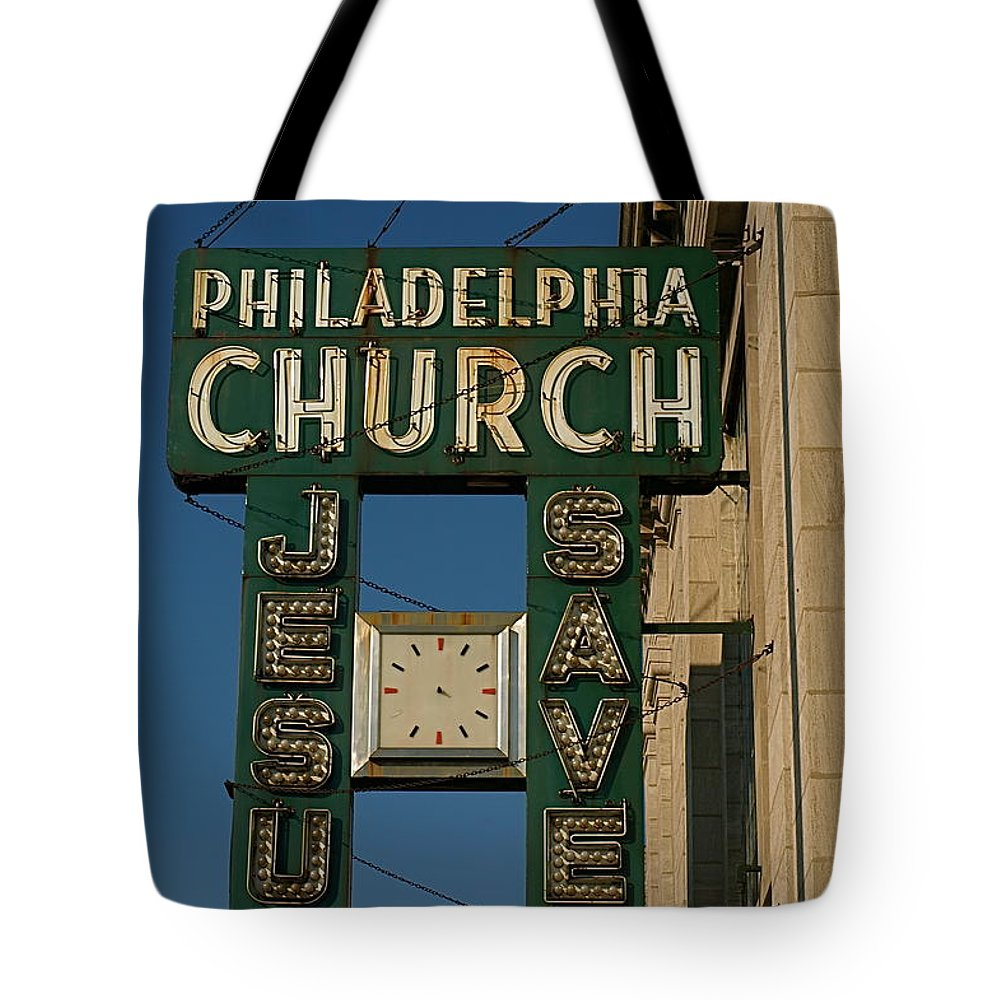 Philadelphia Church Tote Bag featuring the photograph Jesus Saves by Gia Marie Houck