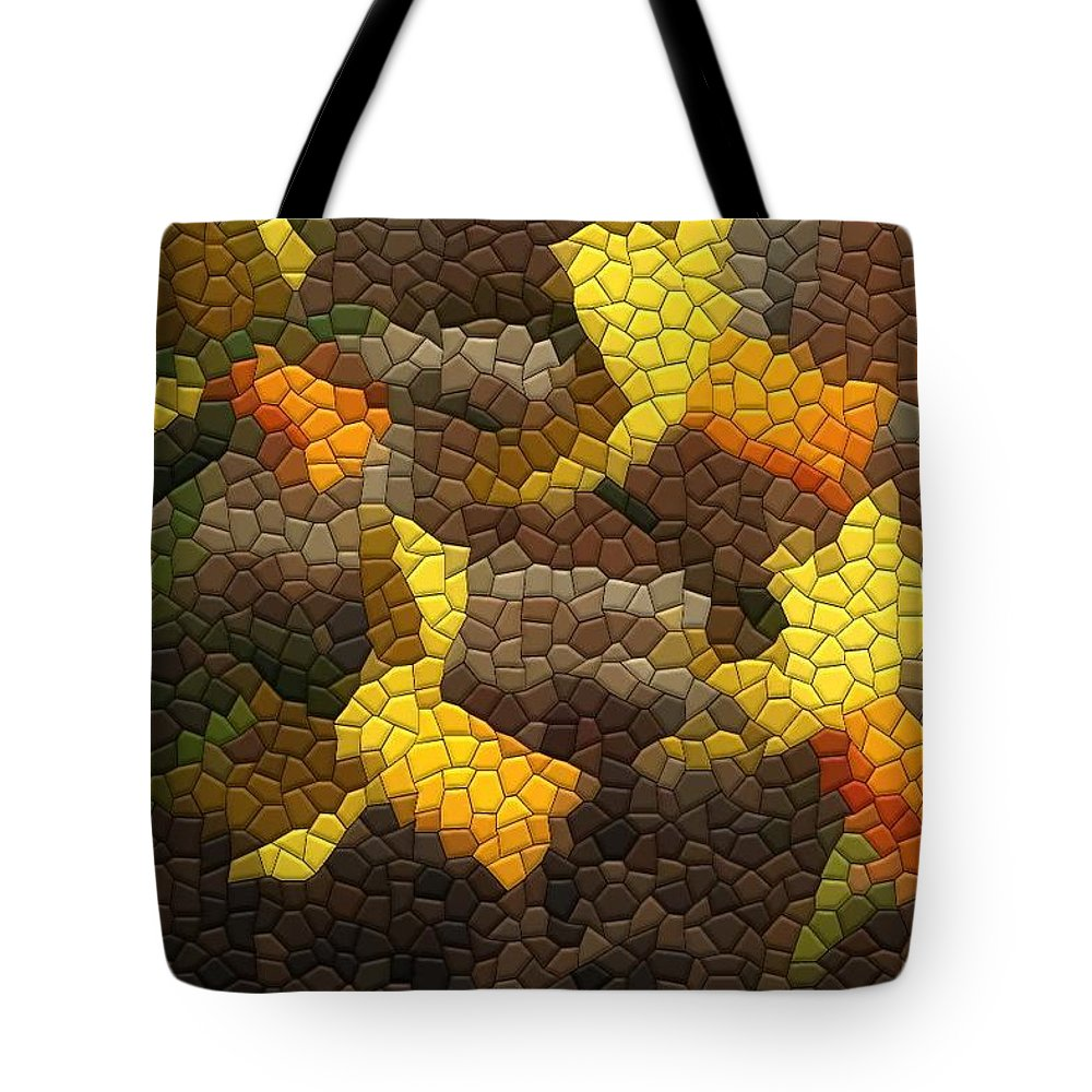 Mosaic Tote Bag featuring the photograph Jetfire Daffs by Kathryn Meyer