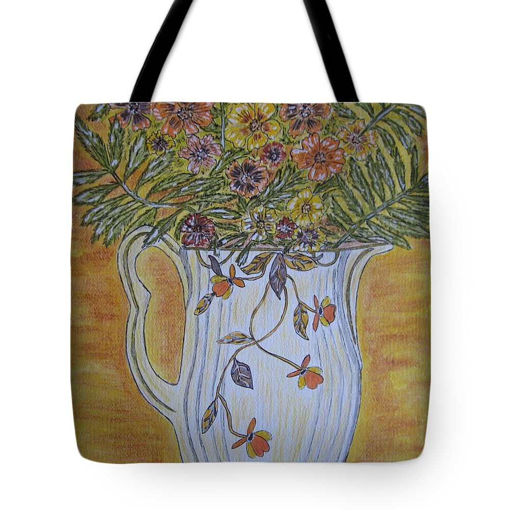 Jewel Tea Tote Bag featuring the painting Jewel Tea Pitcher With Marigolds by Kathy Marrs Chandler