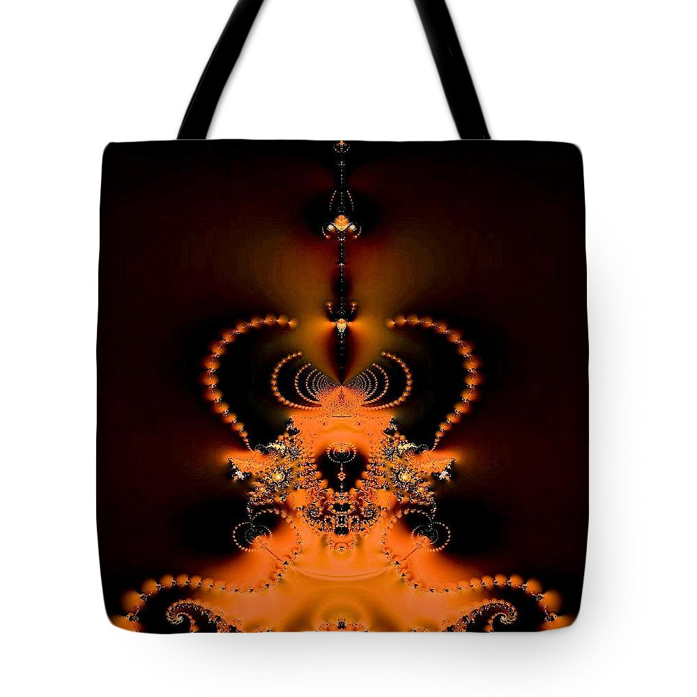 Jeweled Nautilus Glow Tote Bag featuring the digital art Jeweled Nautilus Glow by Maria Urso
