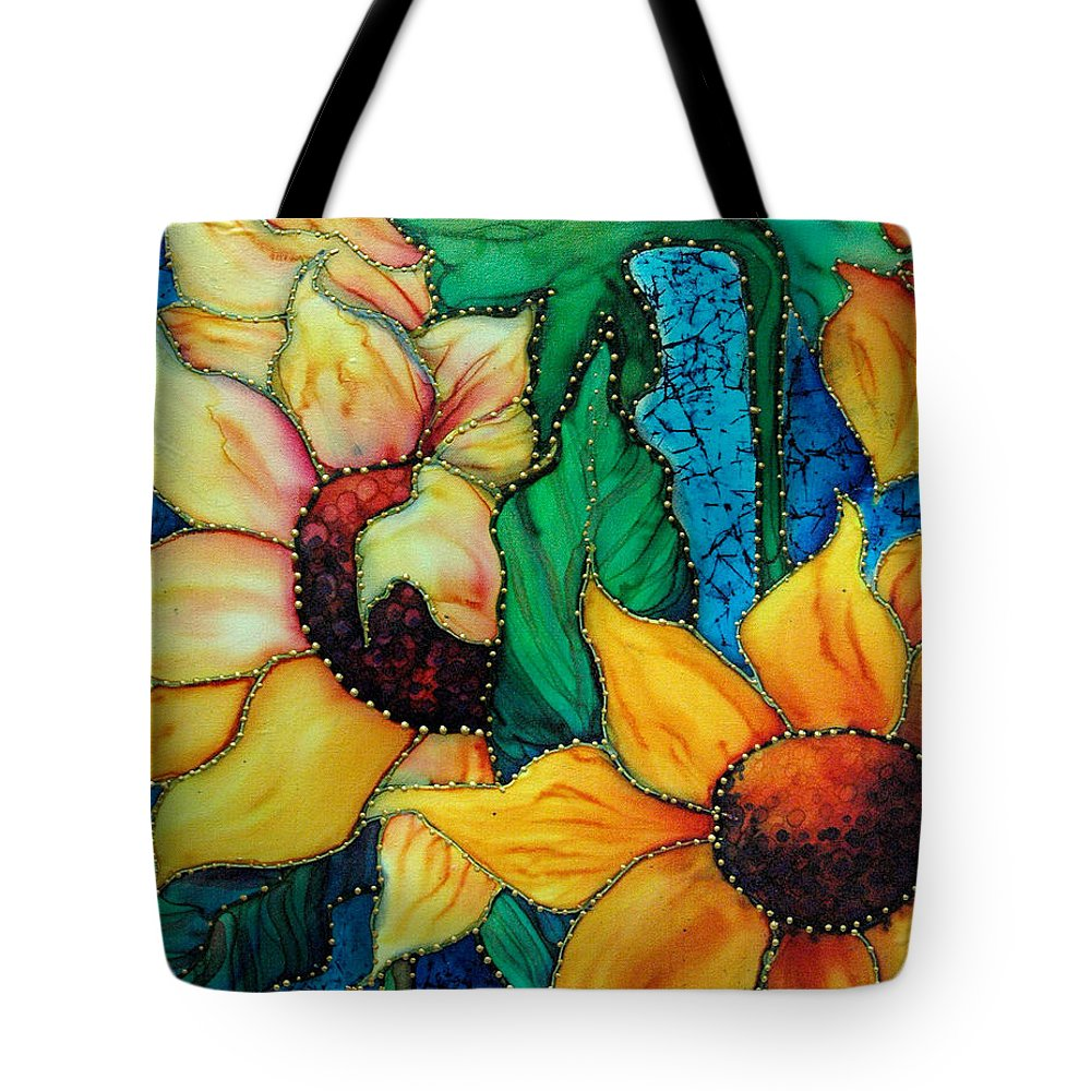 Silk Painting Tote Bag featuring the painting Jeweled Sassy Sunflowers by Francine Dufour Jones