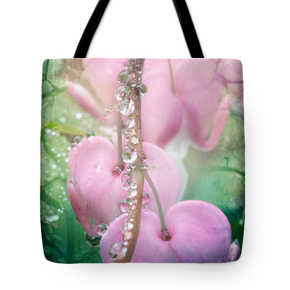 Bleeding Heart Tote Bag featuring the photograph Jewels On Hearts by Jeff Folger