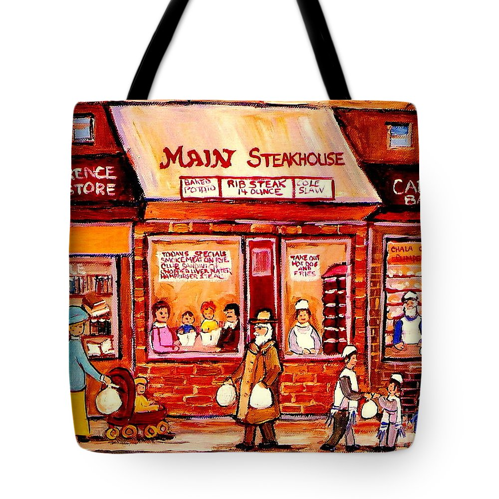Jewish Montreal Art Tote Bag featuring the painting Jewish Montreal Vintage City Scenes Cantor's Bakery by Carole Spandau