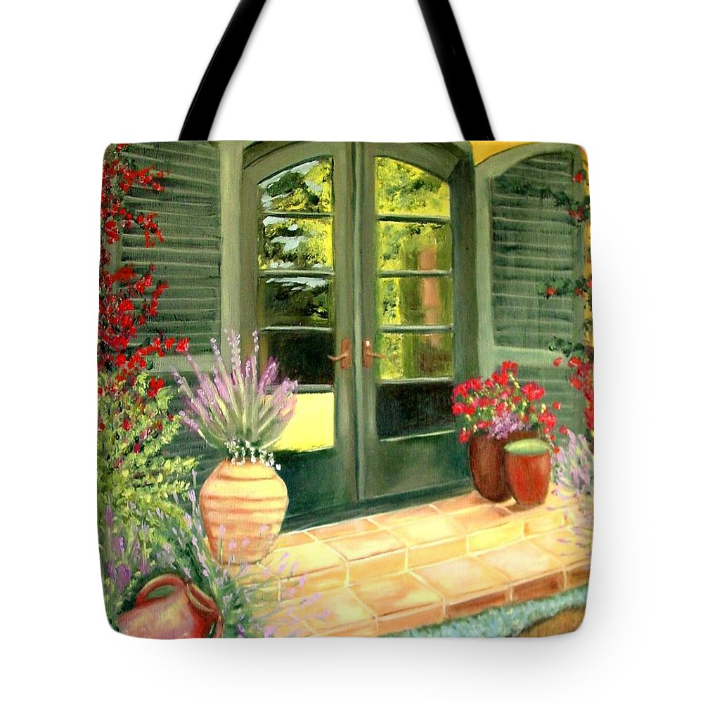 Shutters Tote Bag featuring the painting Jill's Patio by Laurie Morgan