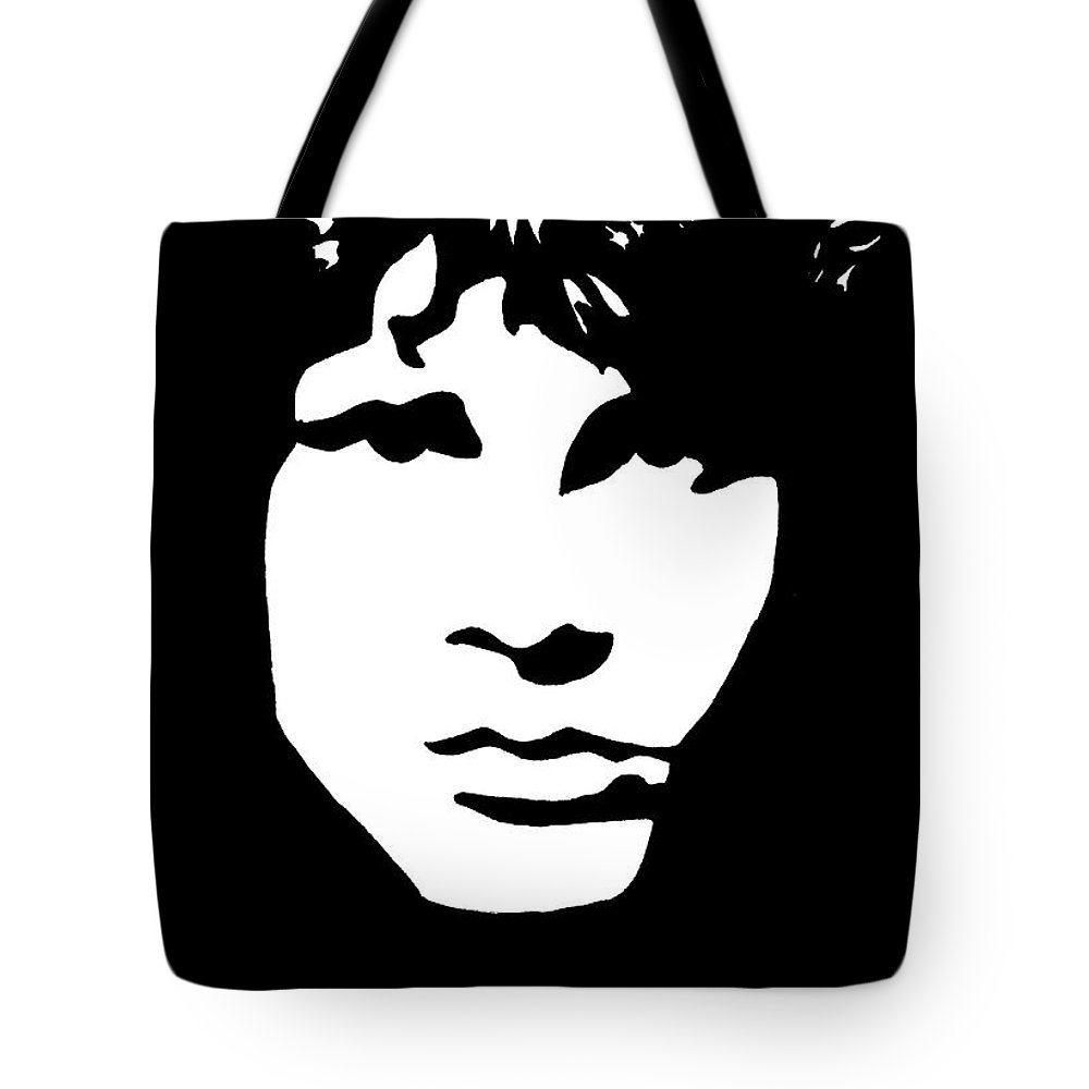 Black White Tote Bag featuring the drawing Jim Morrison by Yael Rosen