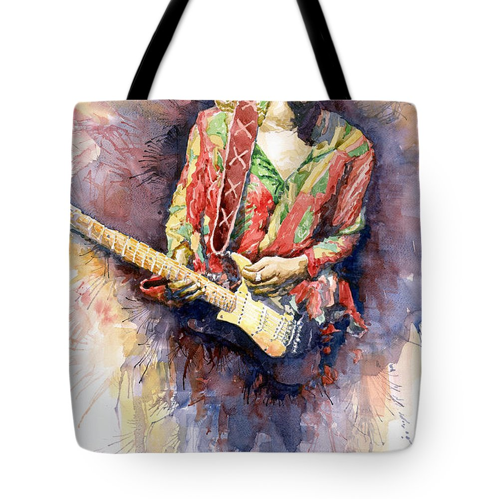 Watercolor Tote Bag featuring the painting Jimi Hendrix 09 by Yuriy Shevchuk