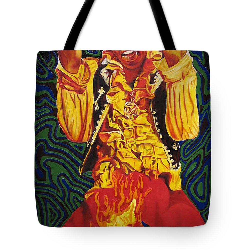 Jimi Hendrix Tote Bag featuring the painting Jimi Hendrix Fire by Joshua Morton