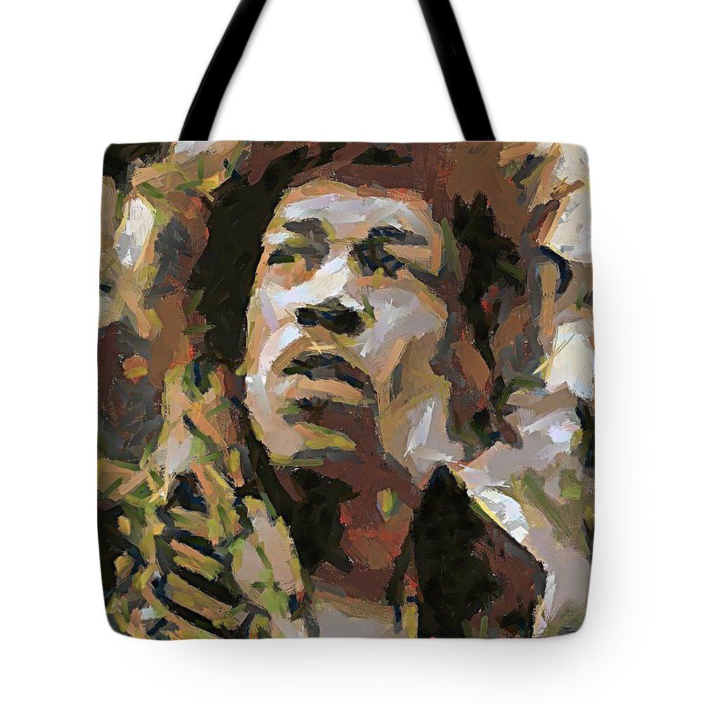 Portrait Tote Bag featuring the painting Jimmy Hendrix by Dragica Micki Fortuna