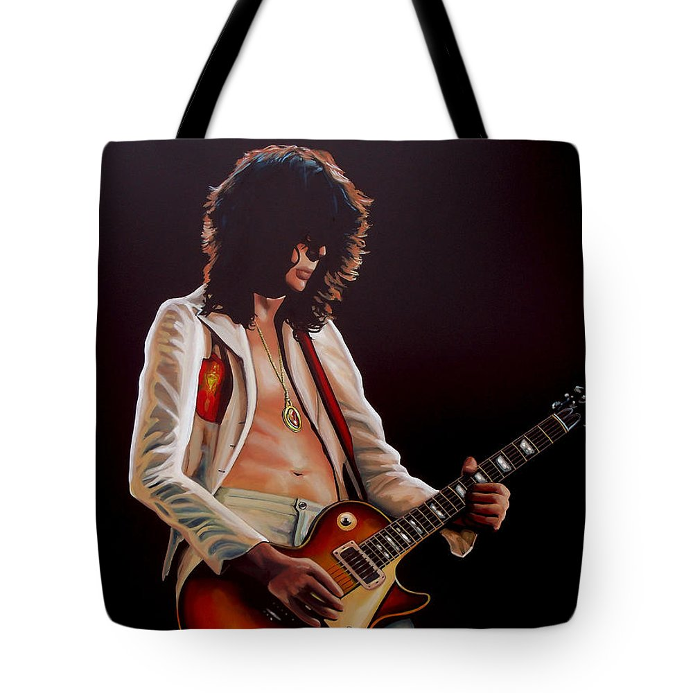 Jimmy Page Tote Bag featuring the painting Jimmy Page In Led Zeppelin Painting by Paul Meijering
