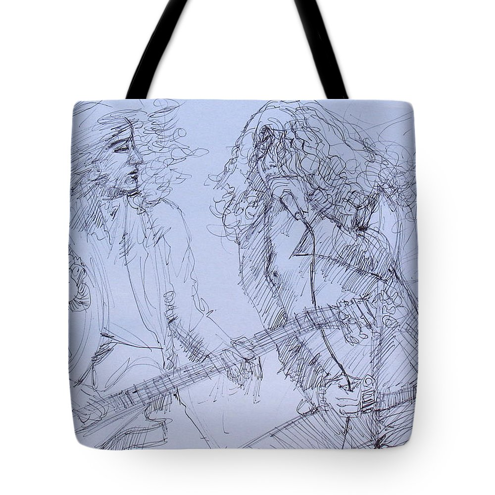 Jimmy Tote Bag featuring the drawing Jimmy Page And Robert Plant Live Concert-pen Portrait by Fabrizio Cassetta
