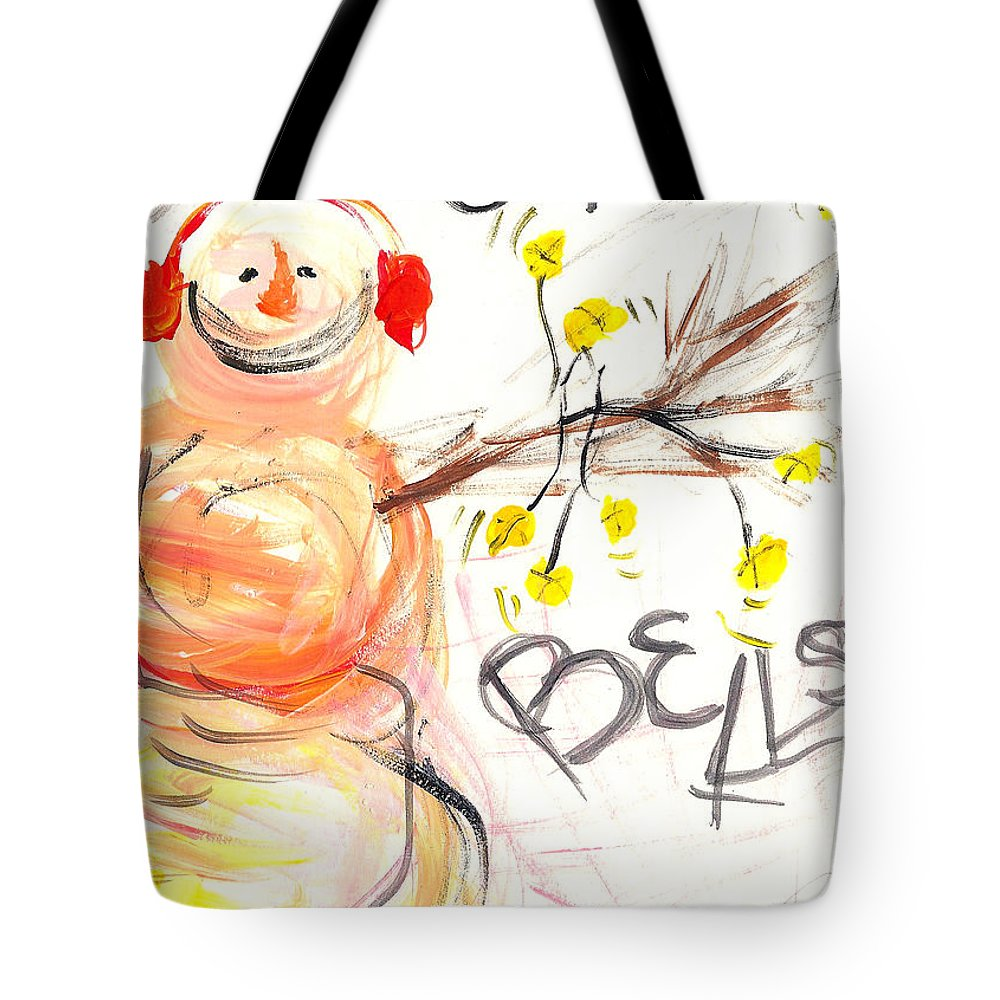 Snowman Tote Bag featuring the painting Jingle Bells by Molly Picklesimer