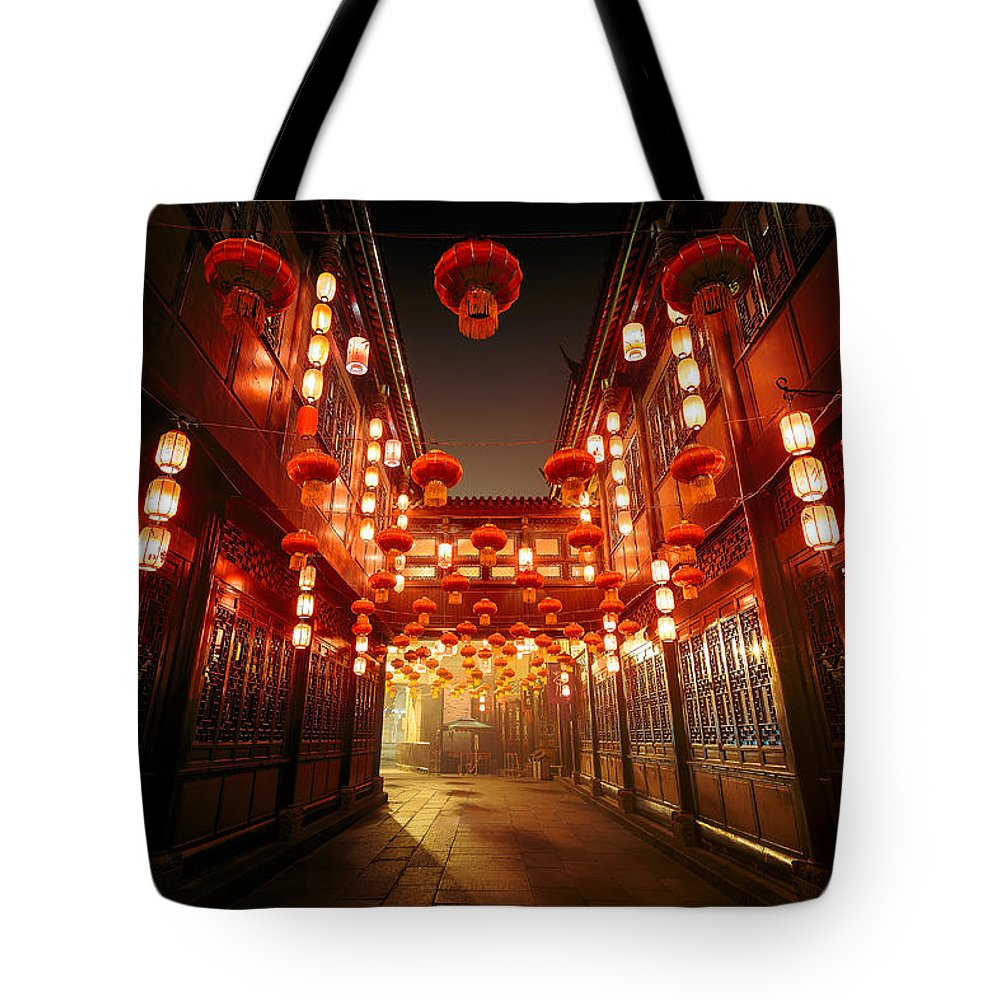 Chinese Culture Tote Bag featuring the photograph Jinli Street, Chengdu, Sichuan, China by Kiszon Pascal