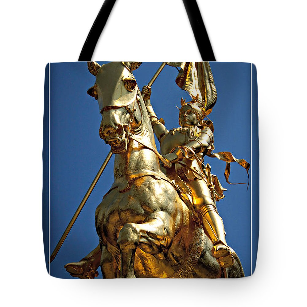 Joan Of Arc Statue Tote Bag featuring the photograph Joan From Below by Alice Gipson