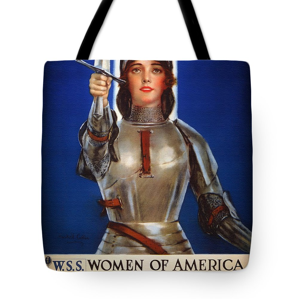 Joan Of Arc Tote Bag featuring the drawing Joan Of Arc War Stamps Poster 1918 by Mountain Dreams