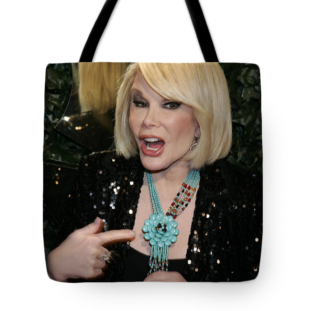 Joan Rivers Tote Bag featuring the photograph Joan Rivers by Nina Prommer