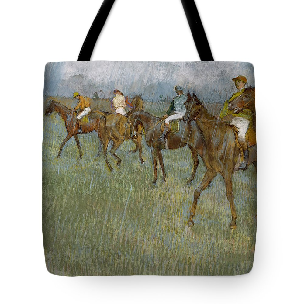 Horse Tote Bag featuring the drawing Jockeys In The Rain, 1886 by Edgar Degas