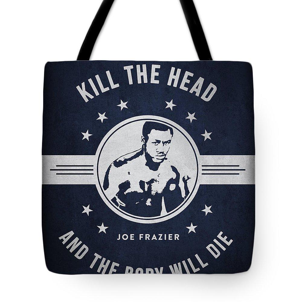 Joe Frazier Tote Bag featuring the digital art Joe Frazier - Navy Blue by Aged Pixel
