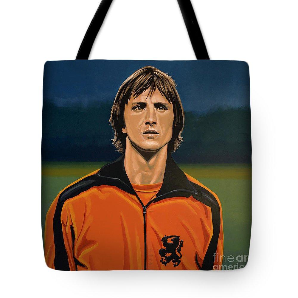 Johan Cruijff Tote Bag featuring the painting Johan Cruyff Oranje by Paul Meijering