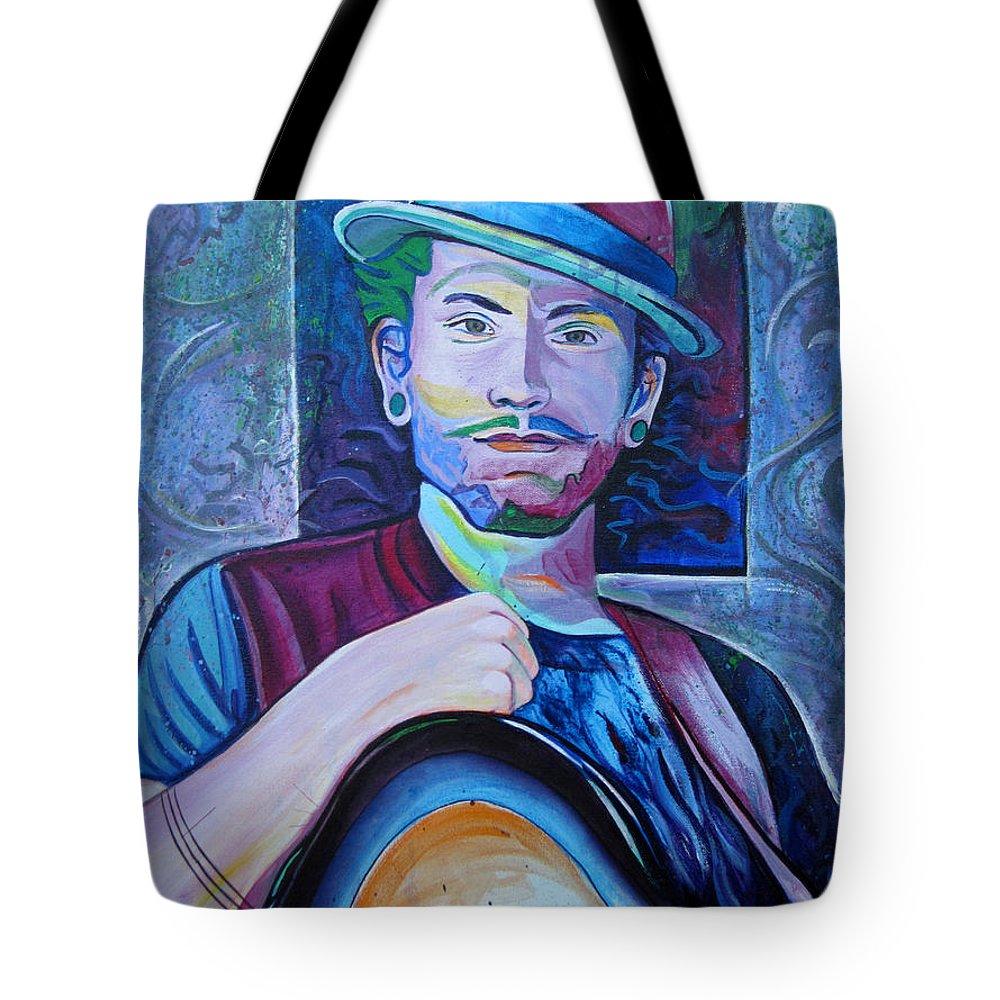 John Butler Trio Tote Bag featuring the painting John Butler by Joshua Morton