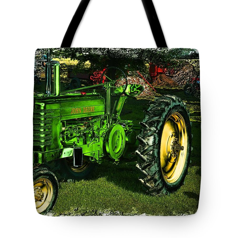 Tractor Tote Bag featuring the photograph John Deere by Bonfire Photography