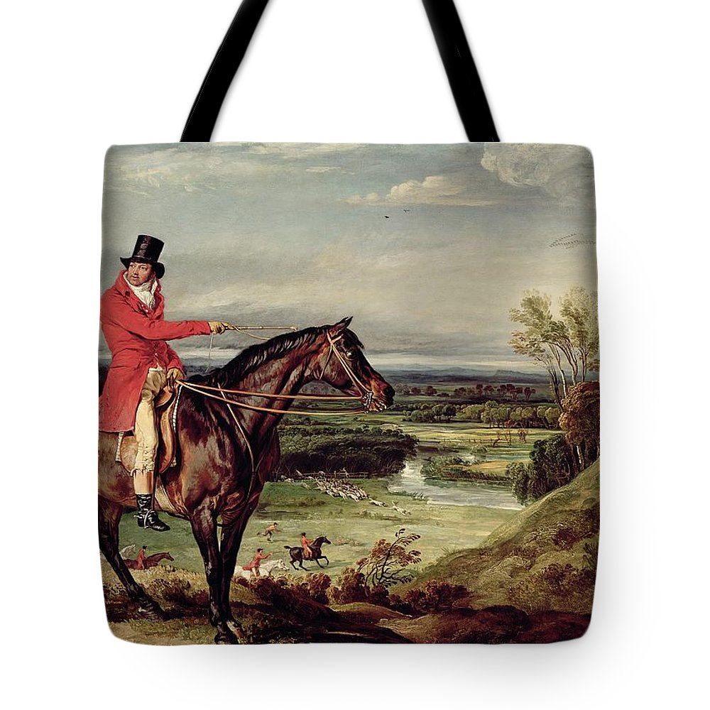 Tote Bag featuring the painting John Levett Hunting In The Park At Wychnor by James Ward