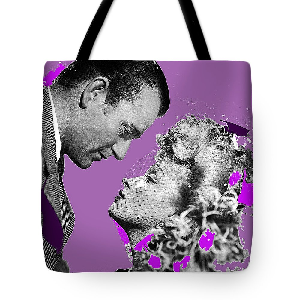 John Wayne Marlene Dietrich Publicity Photo The Spoilers 1942 William Farnum Color Added Tote Bag featuring the photograph John Wayne And Marlene Dietrich Publicity Photo The Spoilers 1942 by David Lee Guss