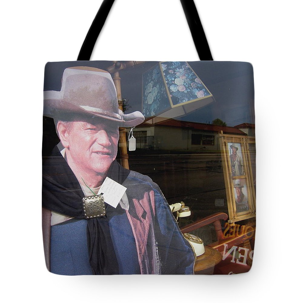 John Wayne Tall In The Saddle Homage 1944 Cardboard Cut-out Tombstone Arizona 2004 Tote Bag featuring the photograph John Wayne Tall In The Saddle Homage 1944 Cardboard Cut-out Tombstone Arizona 2004 by David Lee Guss