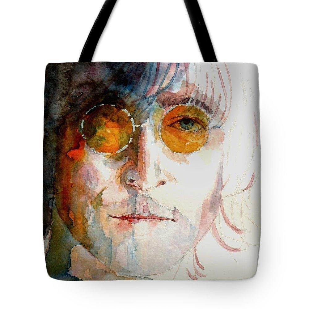 John Lennon Tote Bag featuring the painting John Winston Lennon by Paul Lovering