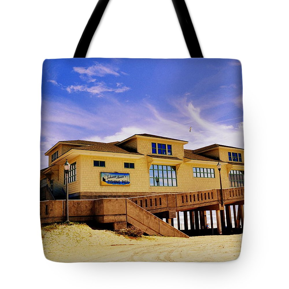 Johnnie Mercer Tote Bag featuring the photograph Johnnie Mercer Pier by Amy Lucid