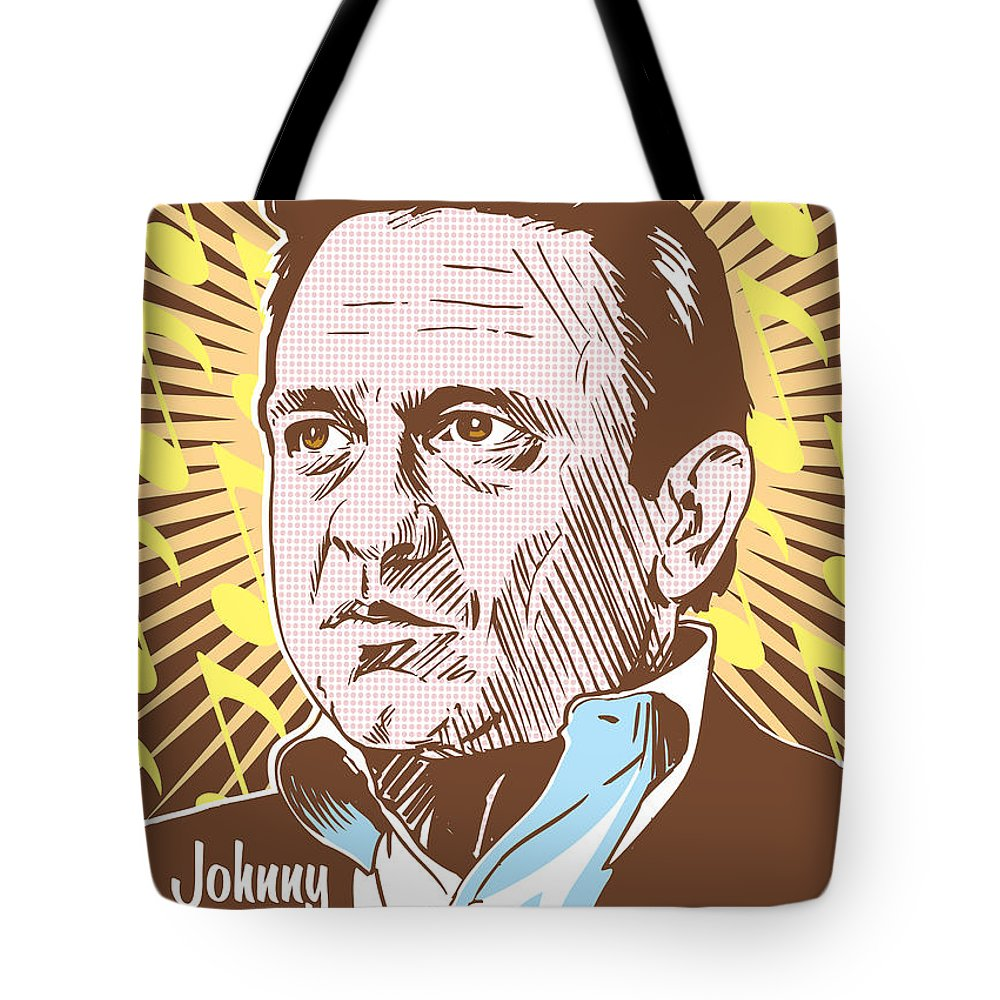 Outlaw Tote Bag featuring the digital art Johnny Cash Pop Art by Jim Zahniser