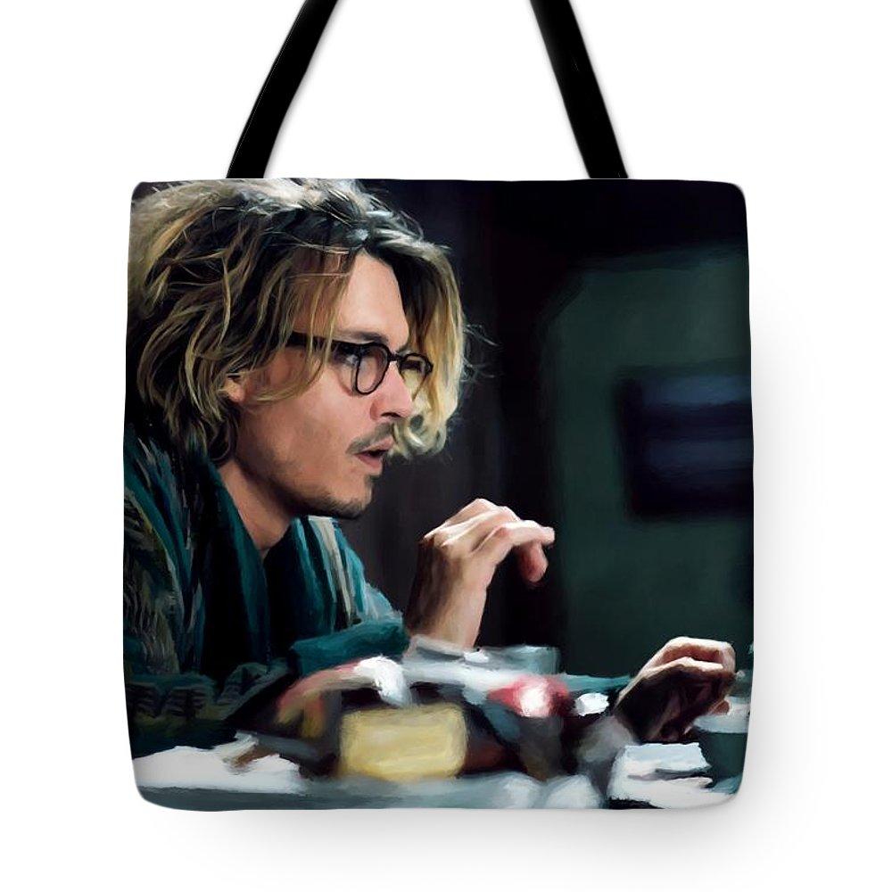 David Koepp Films Tote Bag featuring the digital art Johnny Depp as Mort Rainey @ Secret Window by Gabriel T Toro