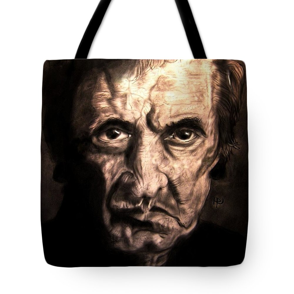 Johnny Cash Tote Bag featuring the drawing Johnny by Herbert Renard