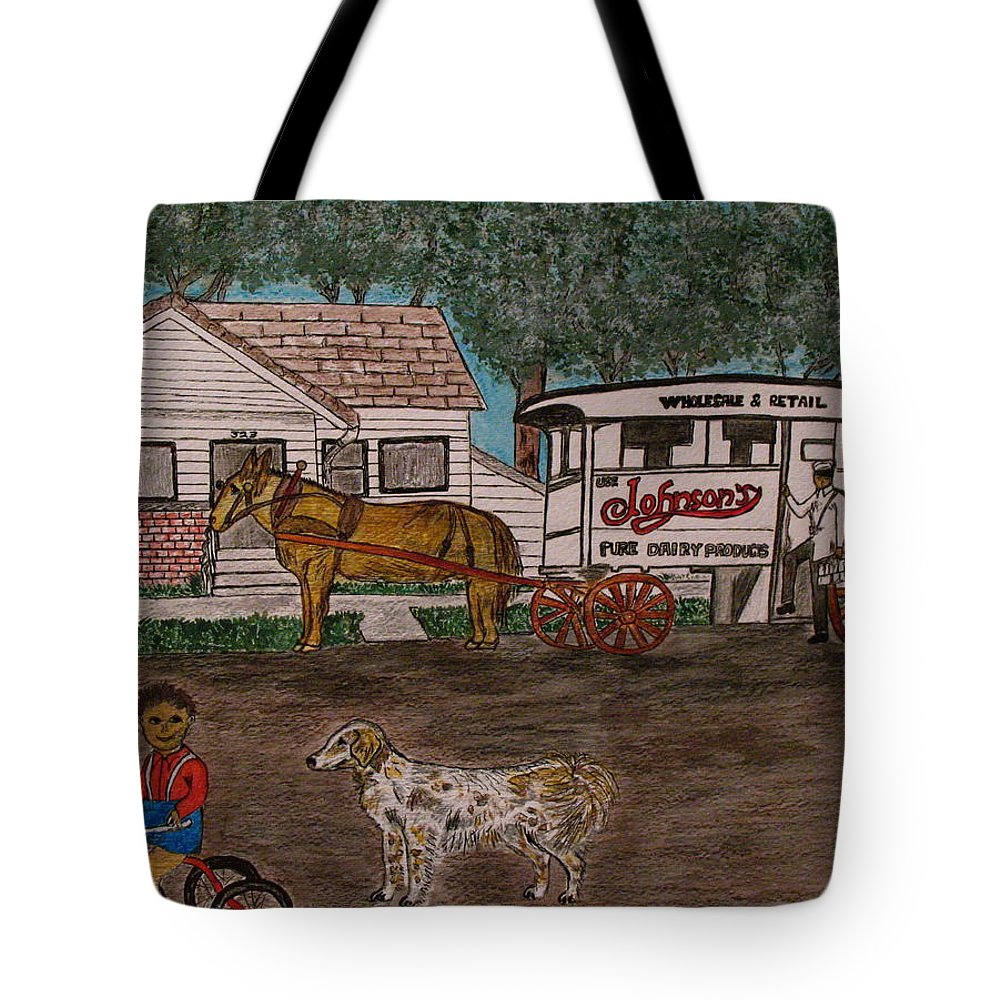 Johnson Creamery Tote Bag featuring the painting Johnsons Milk Wagon Pulled By A Horse by Kathy Marrs Chandler