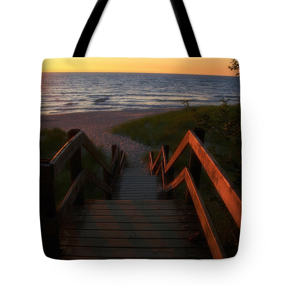Lake Michigan Tote Bag featuring the photograph Join Us For The Sundown by Thomas Woolworth