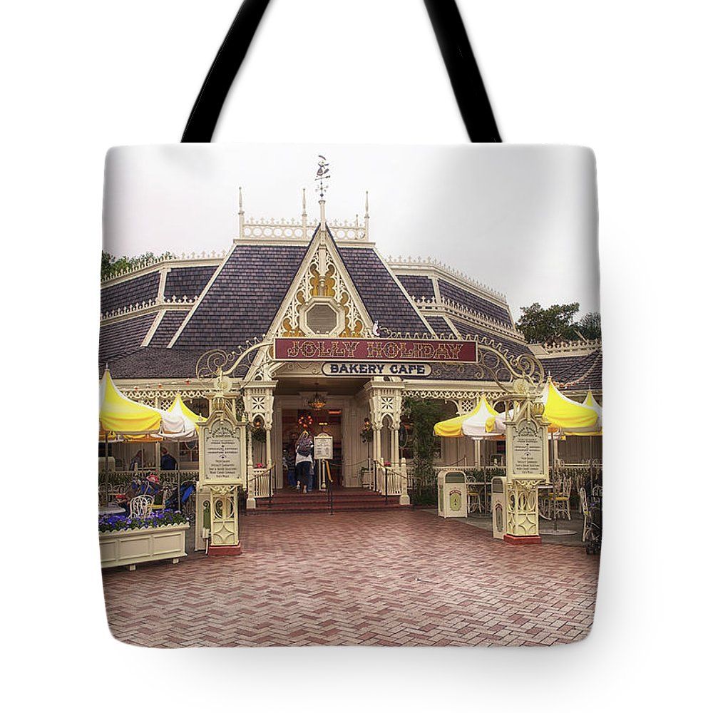 Disney Tote Bag featuring the photograph Jolly Holiday Cafe Main Street Disneyland 02 by Thomas Woolworth