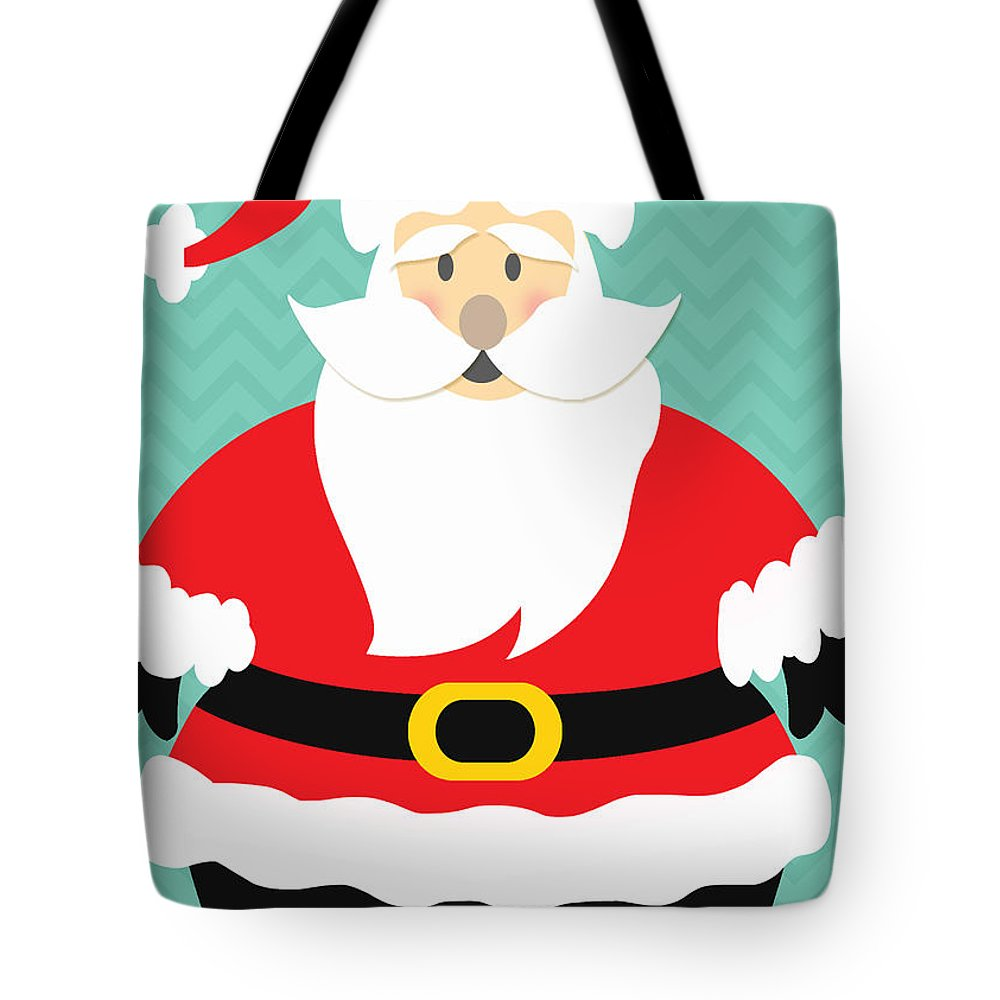 Santa Tote Bag featuring the mixed media Jolly Santa Claus by Linda Woods