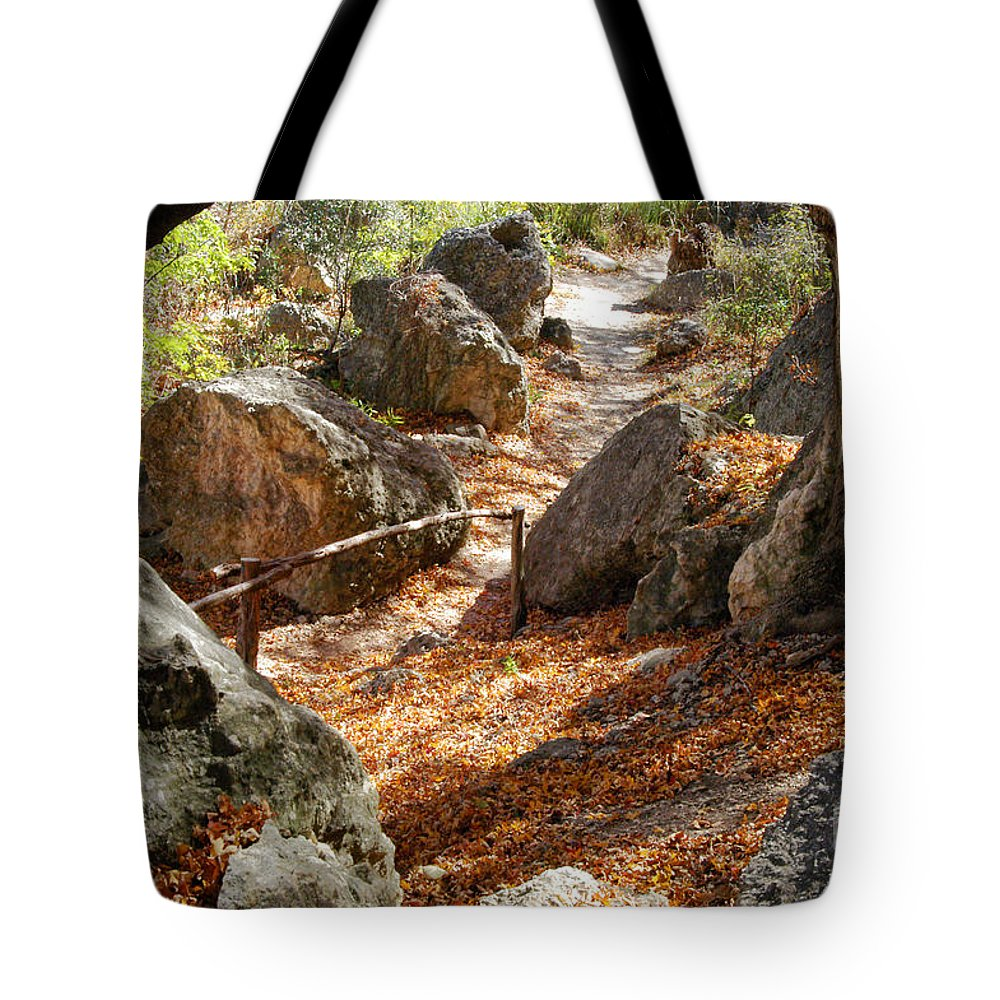 Lost Maples State Park Texas Autumn Fall Leaves Maple Leaf Path Paths Rock Rocks Rail Rails Landscape Landscapes Tote Bag featuring the photograph Journey by Bob Phillips