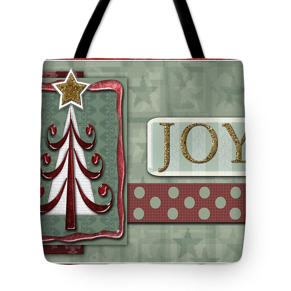 Christmas Tote Bag featuring the digital art Joyful Tree Card by Arline Wagner