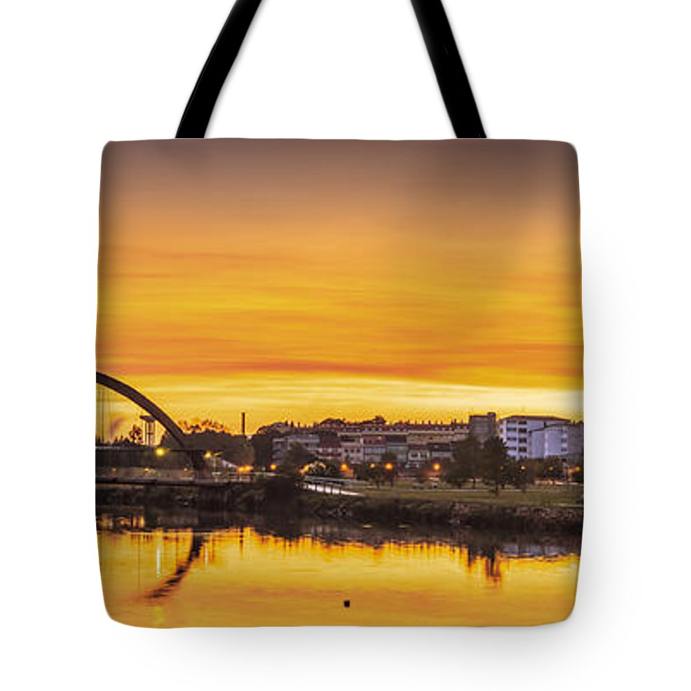 Naron Tote Bag featuring the photograph Jubia Bridge Panorama Neda Naron Galicia Spain by Pablo Avanzini