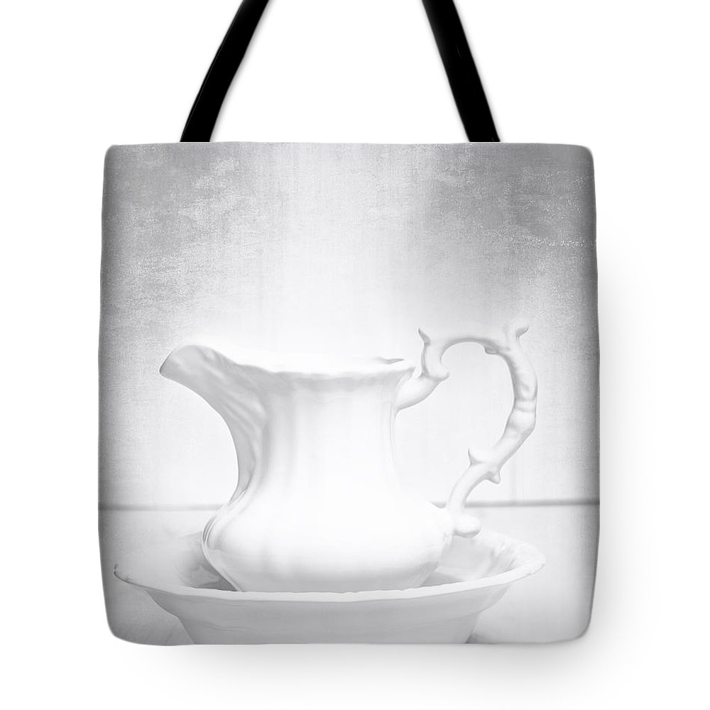 White Tote Bag featuring the photograph Jug And Bowl by Amanda Elwell